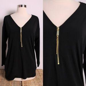 Michael Kors Black Gold Zipper Blouse Top M